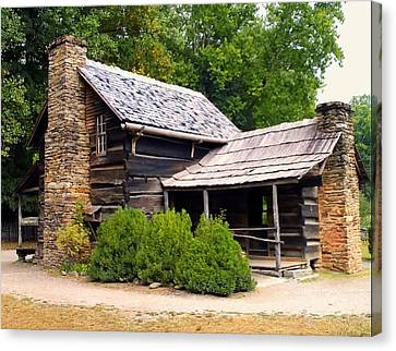 Nc Log Cabin Home Canvas Print by Chris Flees