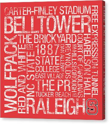 Nc State College Colors Subway Art Canvas Print by Replay Photos