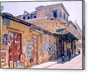 Near The Monastiraki In Greece Canvas Print by John Malone