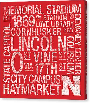 Nebraska College Colors Subway Art Canvas Print by Replay Photos