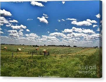 Nebraska Hay Baling Canvas Print by PainterArtist FIN