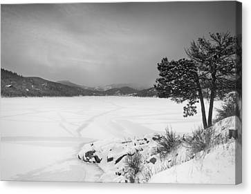 Nederland Colorado Barker Reservoir Winter View Bw Canvas Print by James BO  Insogna