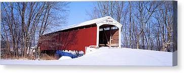 Neet Covered Bridge Parke Co In Usa Canvas Print by Panoramic Images