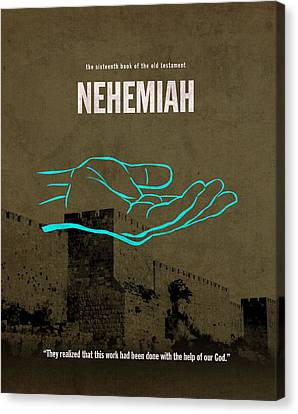 Nehemiah Books Of The Bible Series Old Testament Minimal Poster Art Number 16 Canvas Print by Design Turnpike