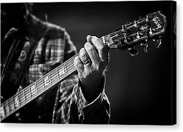 Close Up Of Neil Young's Hand Playing Guitar  Canvas Print by Jennifer Rondinelli Reilly - Fine Art Photography