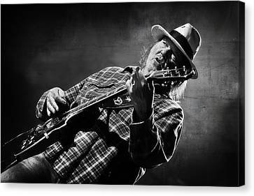 Neil Young On Guitar In Black And White  Canvas Print by The  Vault - Jennifer Rondinelli Reilly