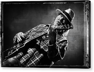 Neil Young On Guitar In Black And White With Grungy Frame  Canvas Print by Jennifer Rondinelli Reilly