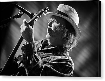 Neil Young In Black And White 2 Canvas Print by The  Vault - Jennifer Rondinelli Reilly