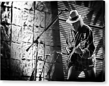 Neil Young Live In Concert Canvas Print by The  Vault - Jennifer Rondinelli Reilly