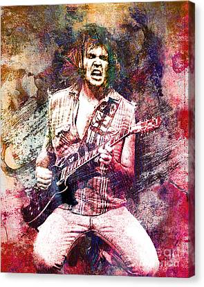 Neil Young Original Painting Print Canvas Print by Ryan Rock Artist