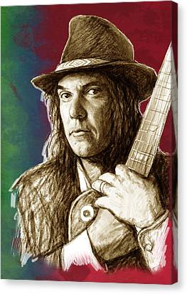 Neil Young - Stylised Pop Art Drawing Portrait Poster  Canvas Print by Kim Wang