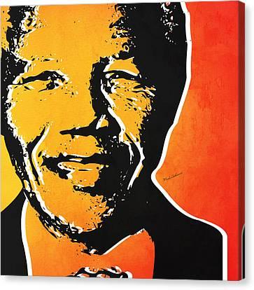 Nelson Mandela Canvas Print by Mark Ashkenazi