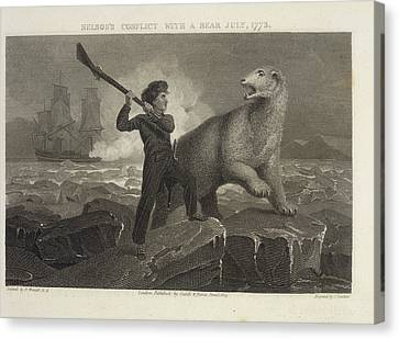 Nelson's Conflict With A Bear Canvas Print by British Library