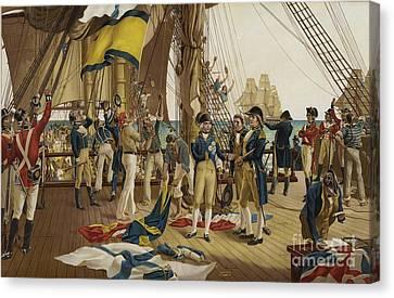 Nelsons Last Signal At Trafalgar Canvas Print by English School
