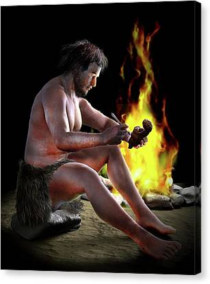 Neolithic Sculptor Canvas Print by Jose Antonio Pe�as