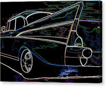 Neon 57 Chevy Bel Air Canvas Print by Katy Hawk