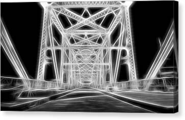 Neon Bridge At Night Canvas Print by Dan Sproul