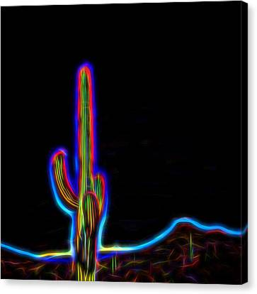 Neon Cactus Canvas Print by Marianne Campolongo
