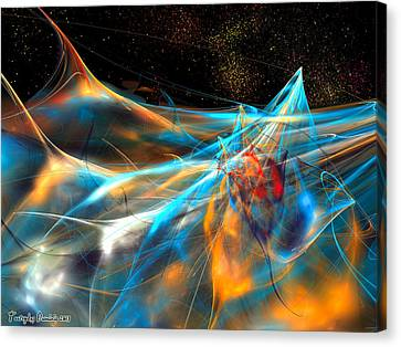 Neon Dolphins In The Atlantic Night. 2013 80/60 Cm.  Canvas Print by Tautvydas Davainis