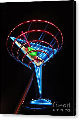 Neon Martini Canvas Print by Henry Kowalski