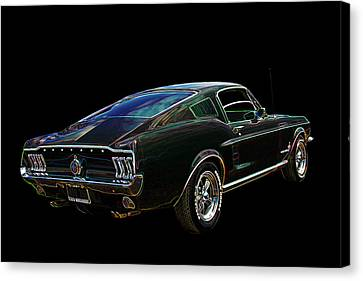 Neon Mustang Fastback 1967 Canvas Print by Gill Billington