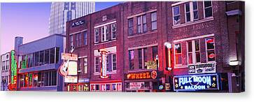 Neon Signs On Buildings, Nashville Canvas Print by Panoramic Images