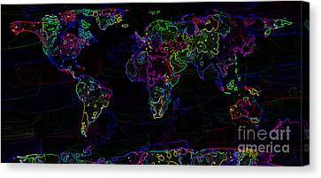 Neon World Map Canvas Print by Zaira Dzhaubaeva