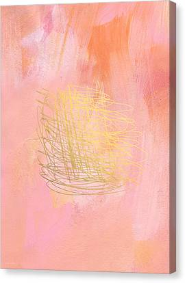 Nest- Pink And Gold Abstract Art Canvas Print by Linda Woods