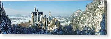 Neuschwanstein Castle Panorama In Winter Canvas Print by Rudi Prott