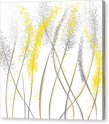 Neutral Sunshine - Yellow And Gray Modern Art Canvas Print by Lourry Legarde