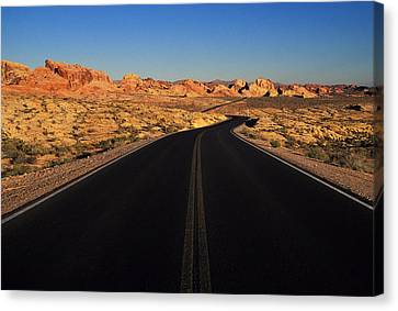 Nevada. Desert Road Canvas Print by Anonymous
