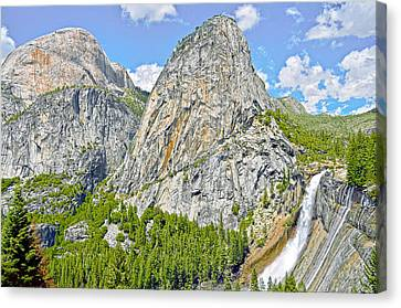 Nevada Fall In June Finery Canvas Print by Steven Barrows