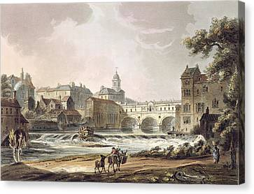 New Bridge, From Bath Illustrated Canvas Print by John Claude Nattes