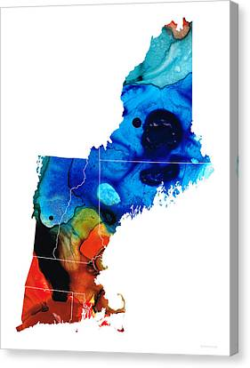 New England - Map By Sharon Cummings Canvas Print by Sharon Cummings