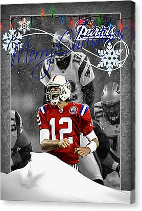 New England Patriots Christmas Card Canvas Print by Joe Hamilton