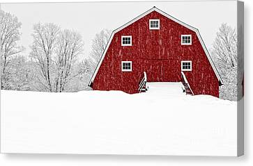 New England Red Barn In Winter Snow Storm Canvas Print by Edward Fielding