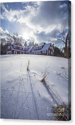 New England Red Farm House Winter Canvas Print by Edward Fielding