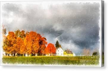 New England Village Canvas Print by Edward Fielding