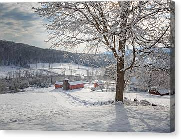 New England Winter Farms Morning Canvas Print by Bill Wakeley