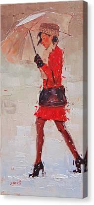 New Fur Hat Canvas Print by Laura Lee Zanghetti