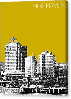 New Haven Skyline - Gold Canvas Print by DB Artist