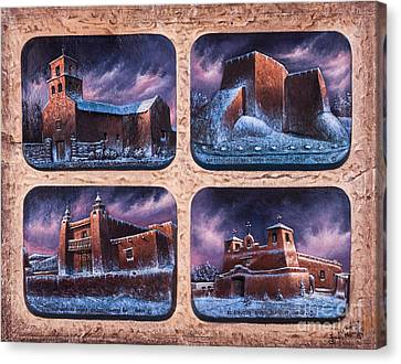 New Mexico Churches In Snow Canvas Print by Ricardo Chavez-Mendez