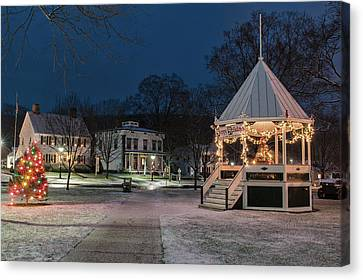 New Milford Green - Christmas Morning Canvas Print by Thomas Schoeller
