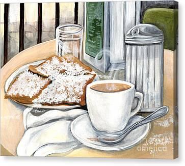 New Orleans Cafe Du Monde Canvas Print by Elaine Hodges