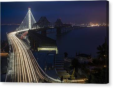 New San Francisco Oakland Bay Bridge Canvas Print by Adam Romanowicz