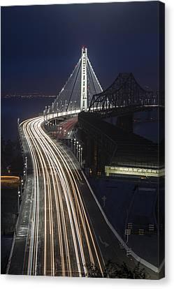 New San Francisco Oakland Bay Bridge Vertical Canvas Print by Adam Romanowicz