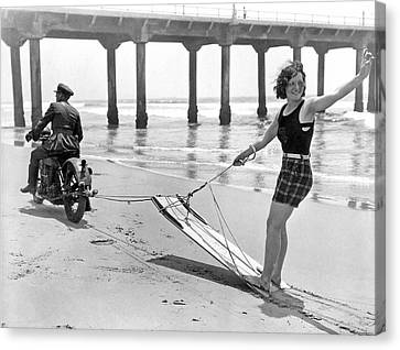 New Sport Of Motor Surfing Canvas Print by Underwood Archives