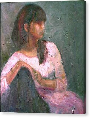 New Year's Blossom - Textural Original Oil On Canvas Portrait Canvas Print by Quin Sweetman
