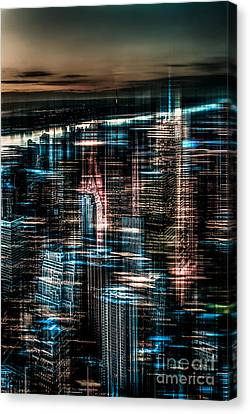 New York - The Night Awakes - Dark Canvas Print by Hannes Cmarits