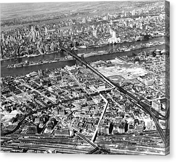 New York 1937 Aerial View  Canvas Print by Underwood Archives